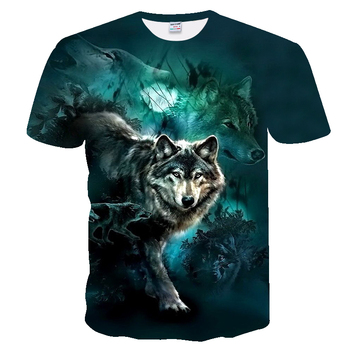 2020 Mens New Summer Personalized T-Shirt Wolf Print 3D Novelty Animal Tops Short Sleeve