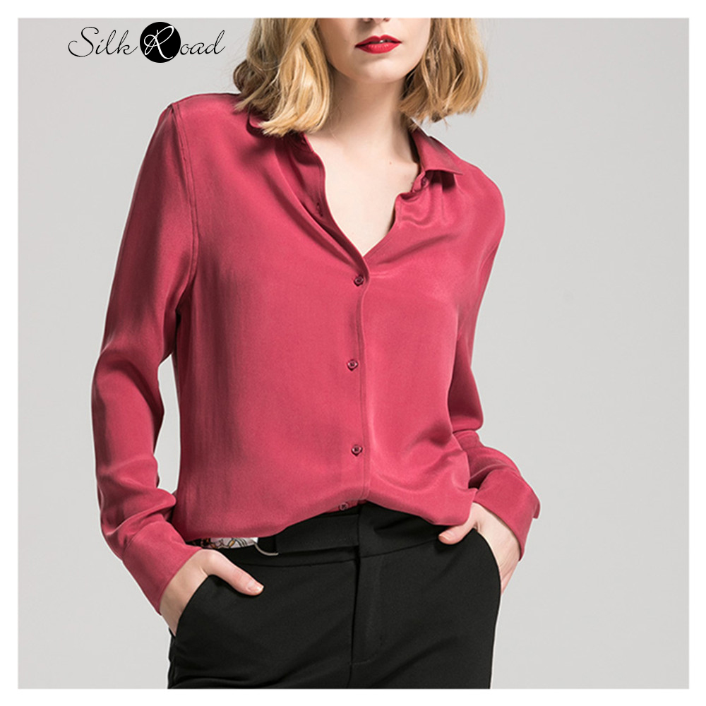 Silviye Wine Red Heavy Weight Thick Silk Shirt European Women's Long Sleeve Mulberry Silk Blouse Top Vintage Western Style Shirt