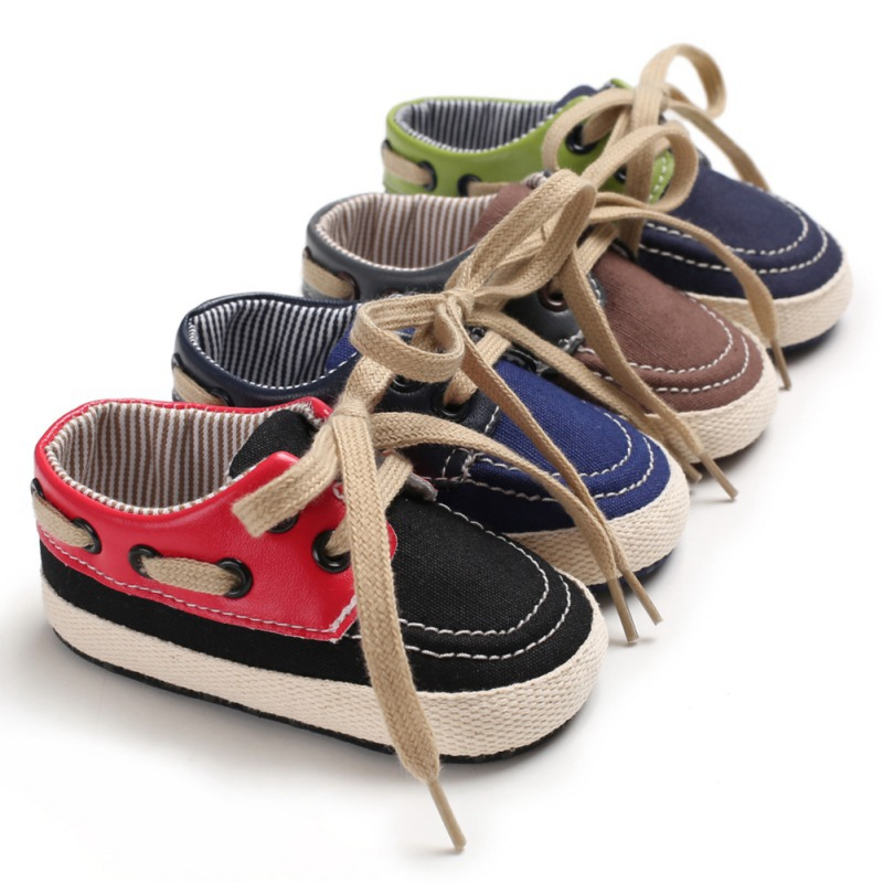 Newborn Baby Boy Canvas Shoes First Walker Toddler Shoes Breathable T-tied Anti-Slip Soft Soled Casual Shoes 0-18M