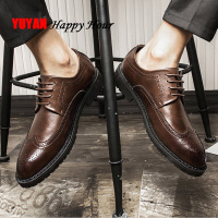 Mens Brogues Business Shoes Leather Men Shoes Black Fashion Brand Oxfords Men Casual Shoes A940