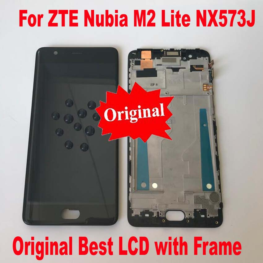 Best Working Original LCD Display Touch Screen Digitizer Assembly + frame For ZTE Nubia M2 Lite / M2 Youth NX573J Glass Sensor(China)