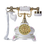 Antique Telephone Creative Retro Decorative Phone Resin Rotary Dial Telephone Decorating Cafe Bar Window Decoration Home Decor