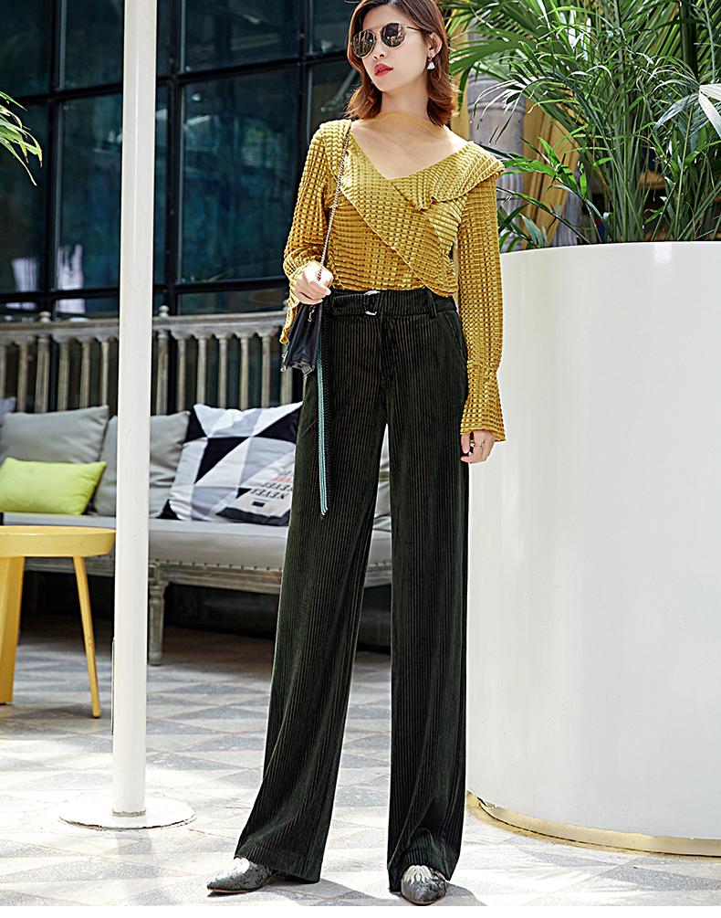 Corduroy Wide Leg Pants Women 19 Autumn Pleuche High Waist Casual Loose Full Length Pants Korean Palazzo Plus Size Trousers 8