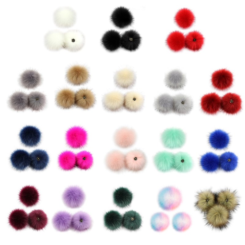 3Pcs 10cm DIY Colorful Furry Pom Pom Ball with Press Button for Hat Shoes Scarf 83XF