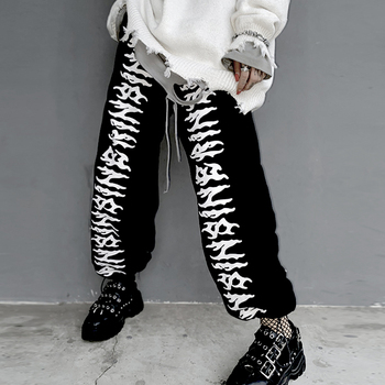 Favour Korean Style Hop Pants Women Fashion 2021 Print Sweatpants Black Streetwear Loose Harajuku High Waist Joggers