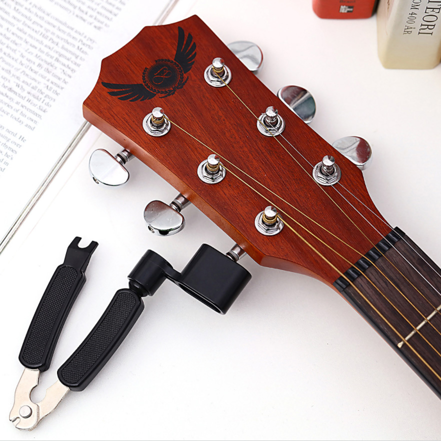 Guitar String Winder And Cutter All-In-1 Restringing Tool-Includes Clippers, Bridge Pin Puller, Peg Winder For Fit Most Guitars