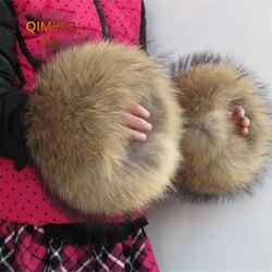 Натуральный мех манжеты оверсайз натуральный мех енота сапоги рукава с манжетами рукав для женщин Зимнее Пальто пуховое пальто перчатки ге...