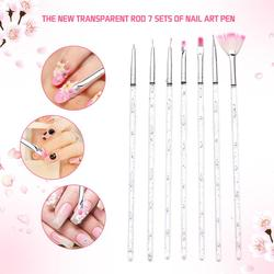 7 Stks/set Nail Art Brush Puntjes Schilderij Tekening Pen Manicure Gel Borstel Polish Gel Uv Tips Nail Borstels Nail Art gereedschap