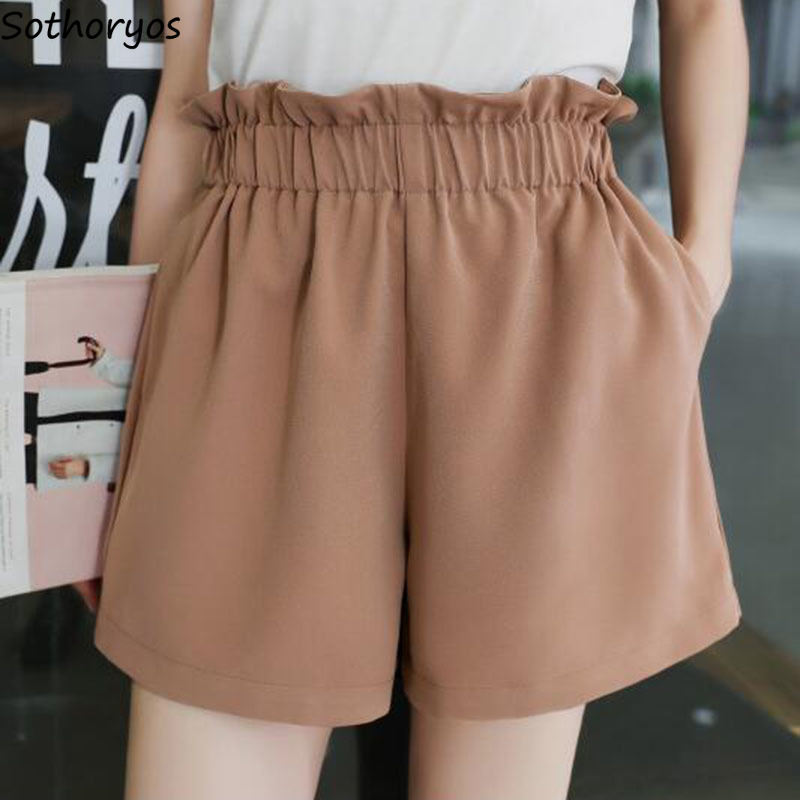 Shorts Women Summer New Loose Ulzzang Elegant Kawaii All-match High Waist Korean Style Chiffon Shorts Womens Trousers Casual