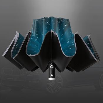 Automatyczny odwrócony parasol mężczyźni Led Luminous wiatroodporny składany biznes silny parasol deszcz mężczyźni samochód kobiety wysokiej jakości parasole tanie i dobre opinie CN (pochodzenie) 48-53 cm promień FF-17 Parasol na słońce i deszcz Metal Czarna powłoka W pełni automatyczne Składane