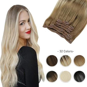 Moresoo Clip In Hair Extensions 10-24 inch Machine Remy Human Brazilian Doule Weft Full Head Set Straight 7Pcs 120G - discount item  28% OFF Human Hair (For White)