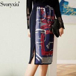 Faldas de Otoño de diseñador de moda Svoryxiu con estampado de cadena de seda para mujer