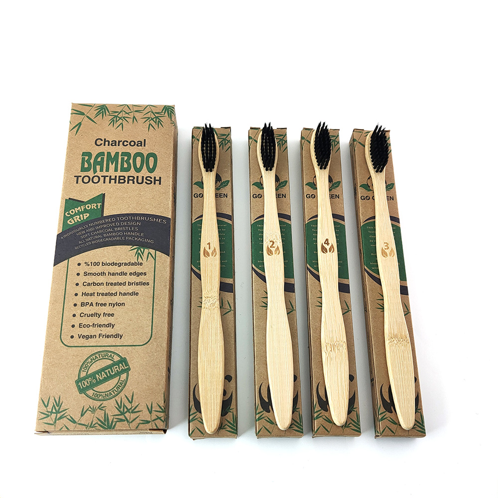 Natural Bamboo Toothbrush Set Eco-friendly Medium Bristles Biodegradable Plastic-Free Oral Care Family Toothbrush Bamboo Set