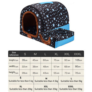 Image 5 - Warm Dog House Print Stars Soft Foldable Pet dogs bed For Puppy large medium Travelling Portable Kennel Mat Cat bed Pet Supplies