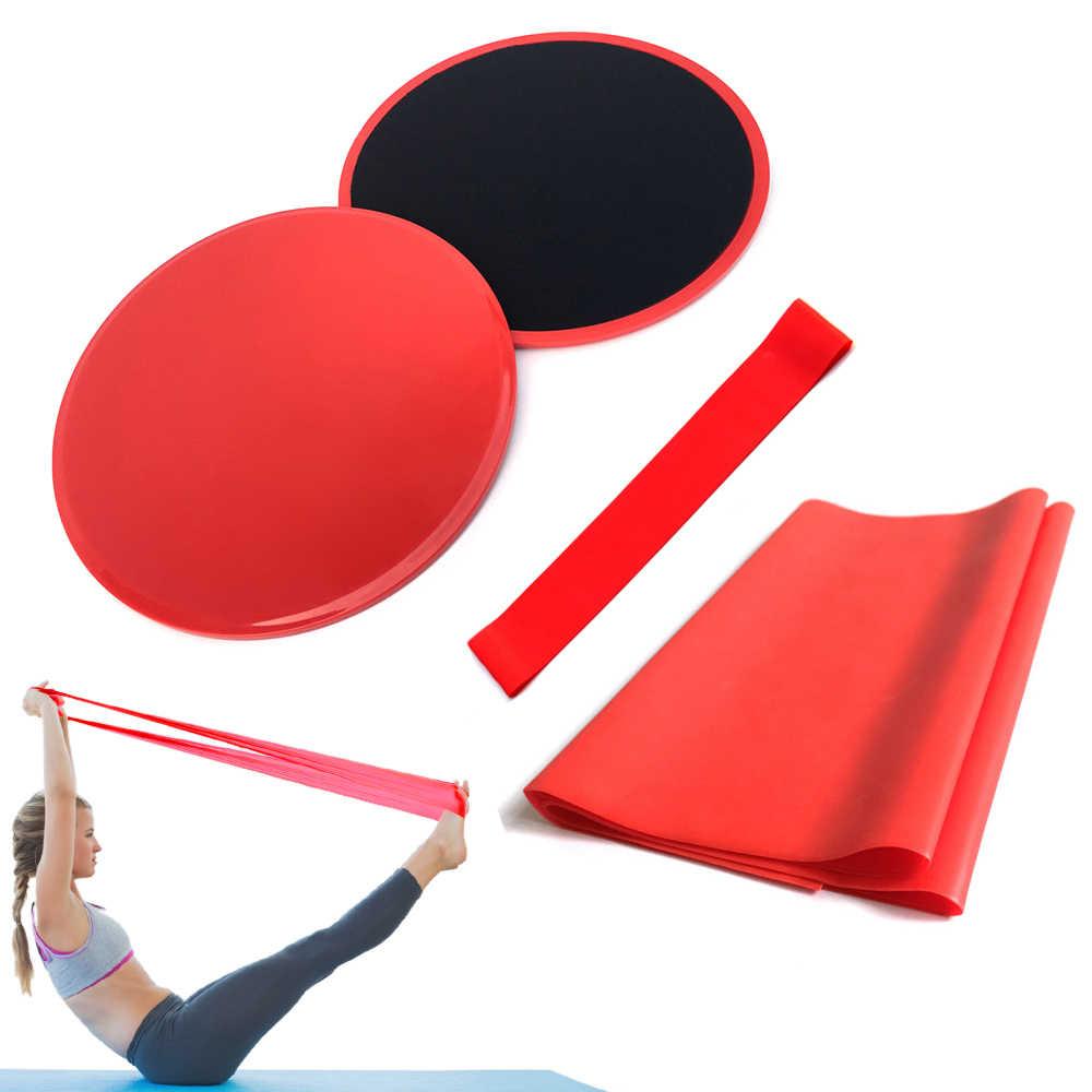 4 Pcs Fitness Set Core Training Gym Yoga Pilates Kit Resistance Bands Discs Core Sliders Oefening Latex Band Yoga Apparatuur