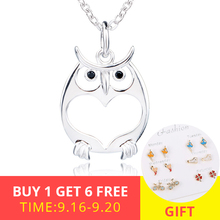 XiaoJing New fashion 925 sterling silver cute animal owl pendant chain necklace diy fashion jewelry making for men gifts xiaojing new arrival 925 sterling silver cute animal sheep pendant chain necklace diy fashion jewelry making for women gifts