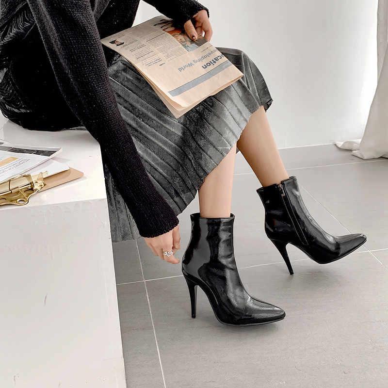ASUMER 2020 yeni yarım çizmeler kadınlar için sivri burun zip yüksek topuklu balo çizmeler zarif bayanlar sonbahar kış çizmeler artı boyutu 34-48