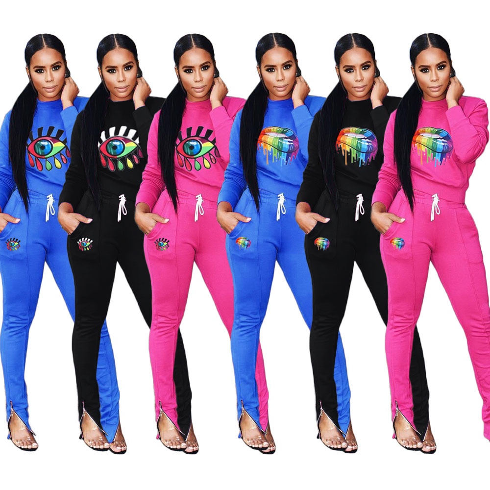2019 Print 2 Piece Set Women Plus Size Top And Pants Casual Outfit Sweat Suits Two Piece Sweatshirt Tracksuit