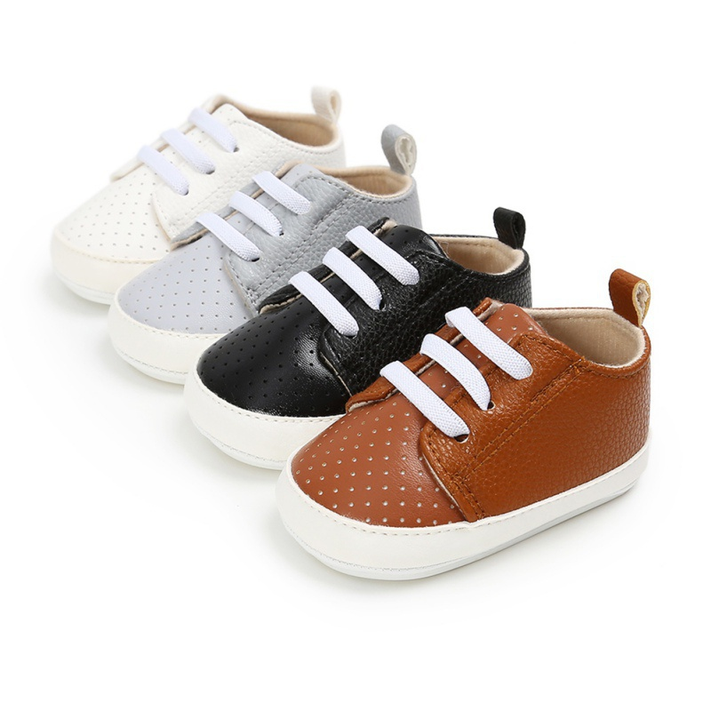 Baby Boy Shoes Breathable Toddler First Walker Solid Print Autumn Spring Soft Bottom Lace-up Infant Shoes PU 0-18M
