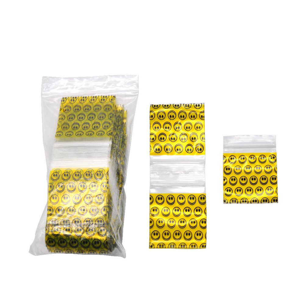 Yellow Smiley Plastic Sealed Bag 100 Sticks 46*44mm Large Tobacco Pack Re-sealable Cellophane Pouch Packaging Storage Sealed Bag