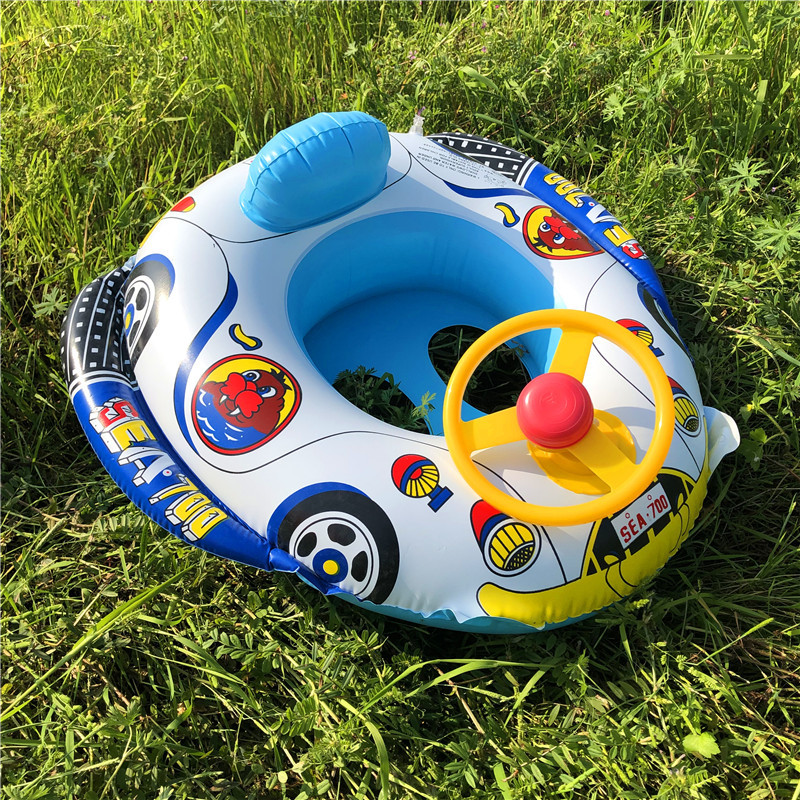 Baby Swims In The Seat Ring A Steering Wheel Horn Will Call A Water Car Boat Car Horn Boat