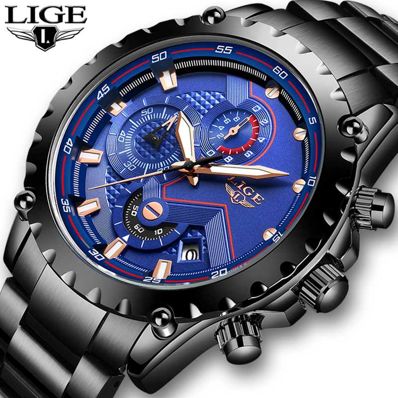 LIGE Official Store Top Brand Luxury Men Watch Fashion Sports Waterproof Chronograph Male Military Wrist Watch Relogio Masculino