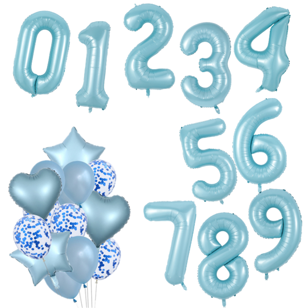 40inch Blue Number Foil Balloons Big 0 1 2 3 4 5 6 7 8 9 <font><b>Happy</b></font> <font><b>Birthday</b></font> Party Wedding Decoration <font><b>18</b></font> <font><b>Years</b></font> Old Balloon Supplies image