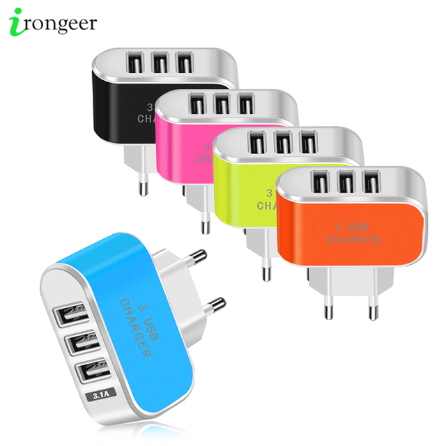 3 Ports USB Charger 5V 2A Travel USB Wall Power Adapter EU Phone Charger For iPhone 11 Pro Max Xiaomi mi note 10 Pro Charging