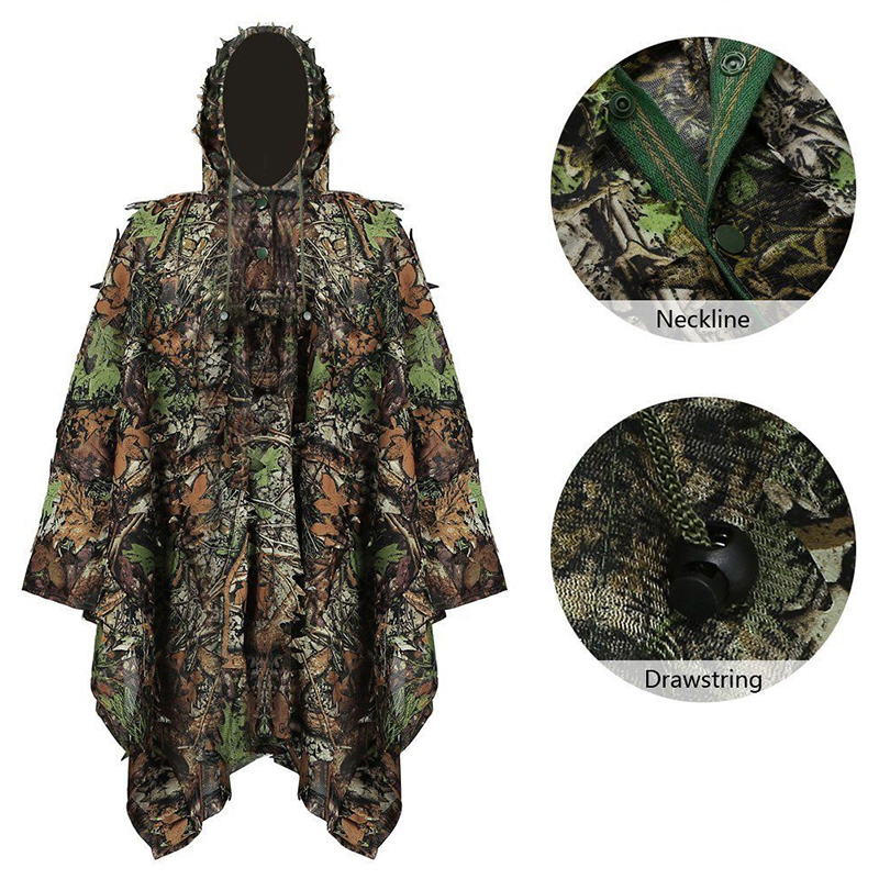3D Woodland Leaf Hunting Blind Cloak Mens Camouflage Clothing MIlitary Tactical Ghillie Suit Clothes