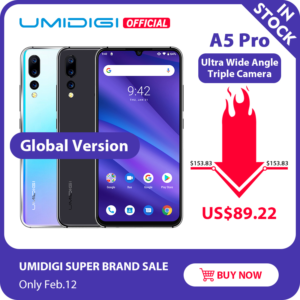 Global Version UMIDIGI A5 PRO Android 9.0 Octa Core 6.3' FHD+ Waterdrop 16MP Triple Camera 4150mAh 4GB RAM 4G Celular Smartphone image