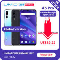 Globalna wersja UMIDIGI A5 PRO Android 9.0 octa core 6.3 'fhd + Waterdrop 16MP potrójna kamera 4150mAh 4GB RAM 4G Celular Smartphone