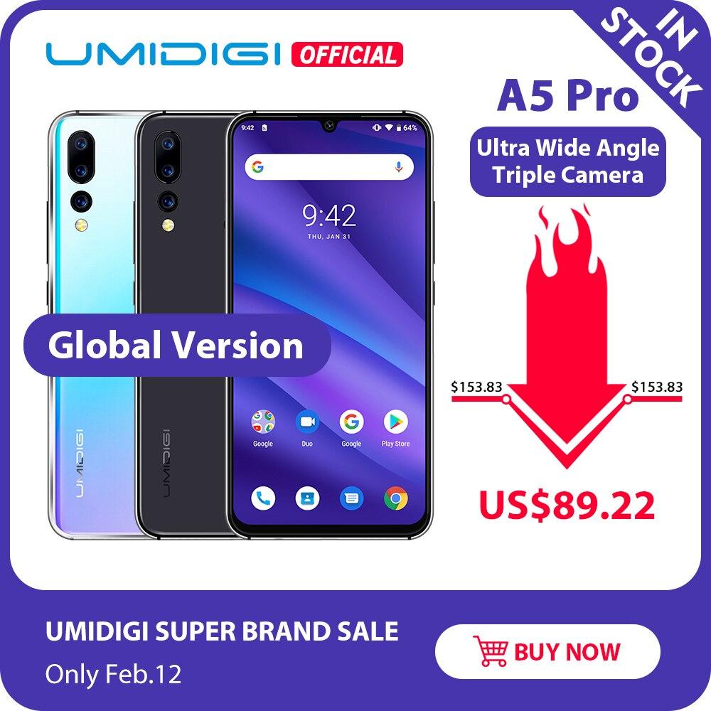 הגלובלי גרסה UMIDIGI A5 פרו אנדרואיד 9.0 אוקטה Core 6.3 'FHD + ואטארדרוף 16MP לשלושה מצלמה 4150mAh 4GB RAM 4G Celular Smartphone