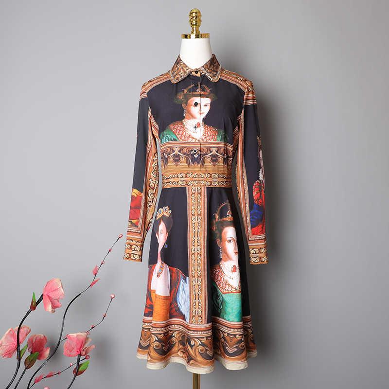 VERDEJULIAY Vintage robe 2020 printemps automne nouvelle mode à manches longues a-ligne perles peinture imprimé Midi noir robe en mousseline de soie