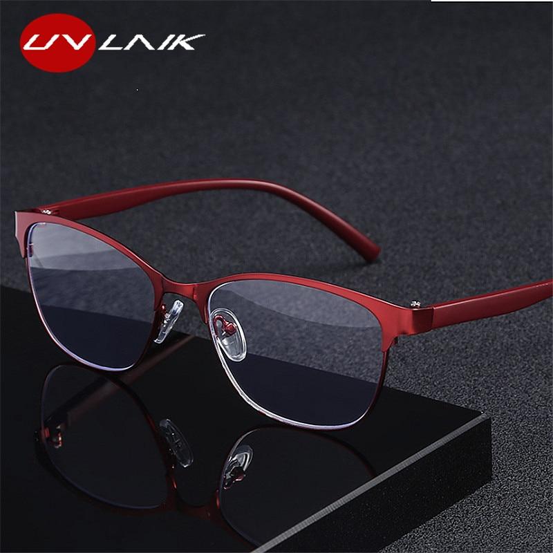 UVLAIK occhiali da lettura retrò in metallo Cat eye occhiali da vista presbiti a luce blu per genitori cerniere a molla per occhiali 1