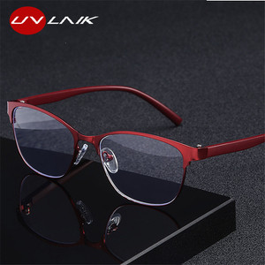 UVLAIK Retro Metal Cat eye Reading Glasses Women Presbyopic Blue Light Blocking Eyeglasses for Parents Eyewear Spring Hinges