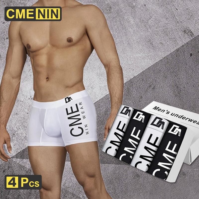 4Pcs CMENIN Sexy Men Underwear Boxer Pure Cotton Print Boxershorts Cueca Male Panties Lingeries Underpants Boxer Shorts CM212