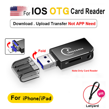 2 in 1 Card Reader Dual Slot TF Metal OTG Adapter Multimemory USB 3.0 For iphone ipad ios 13.0 Above Version Macbook Laptop
