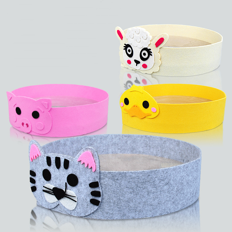 1pc Cartoon Felt Corrugated Paper Castle Small Dog Puppy Rabbit Cat Cage House Sleeping Kennel Mat Cat Bed Scratch Resistant