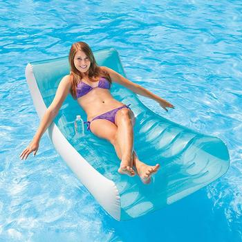 Inflatable Backrest Lounge Chair Adult Floating Pool Floating Swimming Ring Lazy Water Lounge Chair Floating Bed Swimming Ring