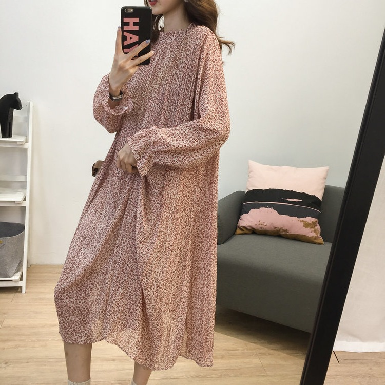 Loose-Fit Stand Collar Floral-Print Chiffon Long-sleeved Dress Autumn And Winter Women's Large Size Slimming Medium-length A- Li