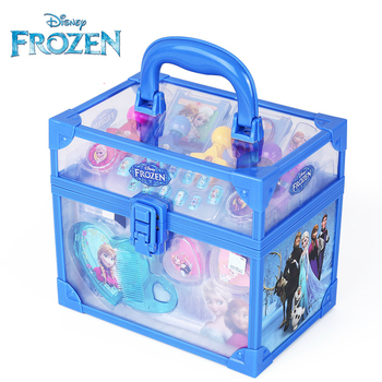 disney pretend play beauty fashion toys frozen child cosmetic set girl toy makeup box house eye shadow blush for kids gift Disney Frozen Beauty Makeup Set Disney Accessories Princess Elsa Anna Pretend Play Fashion Toys Jewelry for Kids Birthday Gift