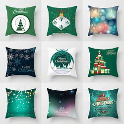 Merry Christmas Cushion Cover Christmas Decoration Pillowcase Santa Claus Polyester Throw Pillow Case Cover kerstmis navidad