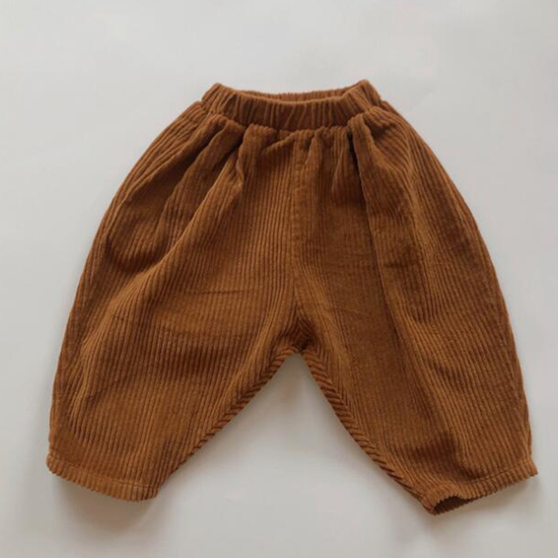 Kids Casual Elastic Waist Pant Solid Color Cotton Corduroy Trousers Korean Style Baby Boys Girls Pants Children's Clothing 3