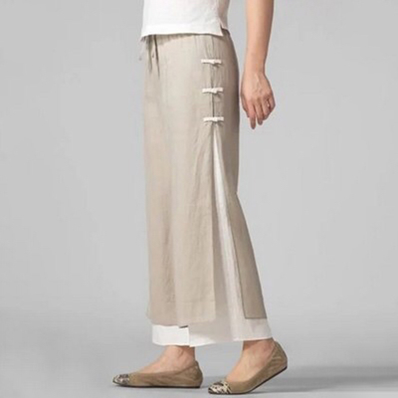 Ladies Pants Chinese Style Casual Loose Large Size Wide Leg Pants Trousers Wild Comfortable Pants