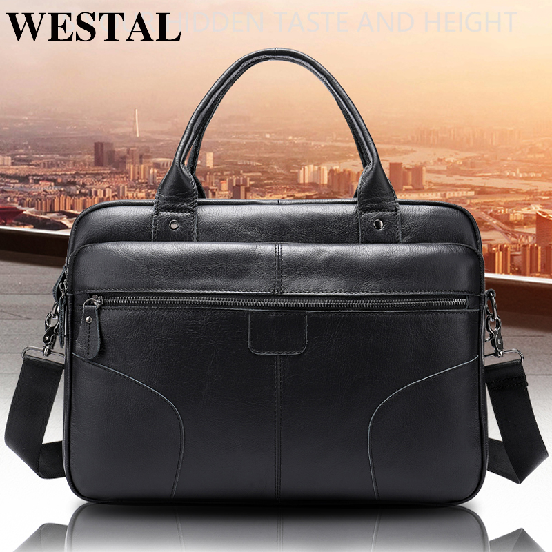 WESTAL Men's Briefcase/genuine Leather Bag Men's Shoulder Male Leather Laptop Bag Business Briefcase Office Bags For Men 8626