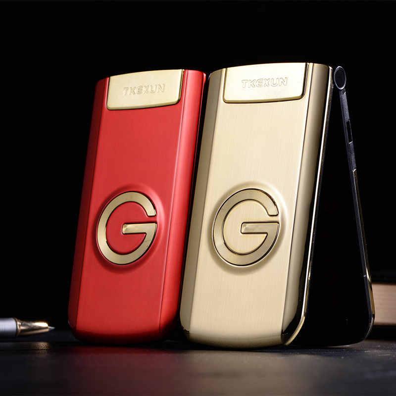 "Tkexun Clamshell teléfono móvil 2,4 ""Pantalla de escritura a mano SOS llamada rápida ruso llave grande precio barato LED antorcha Flip teléfono Senior"