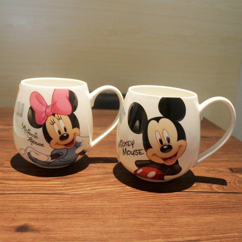 2pcs/Lot Cartoon Couples Mug Mickey Minnie Ceramic Cups Milk 320ml Creative Coffee Mugs Cute Breakfast Cup Birthday Xmas Gift|Coffeeware Sets| |  - title=