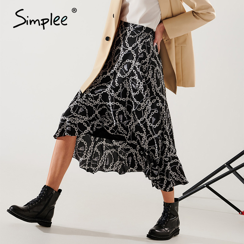 Image 2 - Simplee Fashion chain print women midi skirt Elegant lace up mid waist female wrap skirt Spring summer chic ladies skirts bottomSkirts   -