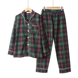 Image 2 - Sonbahar Yeni Kadın Gevşek Eğlence Uzun Kollu Pijama Mujer Çift Pijama Seti Saf Pamuk Ekose Artı Boyutu Pijama Pijama mujer