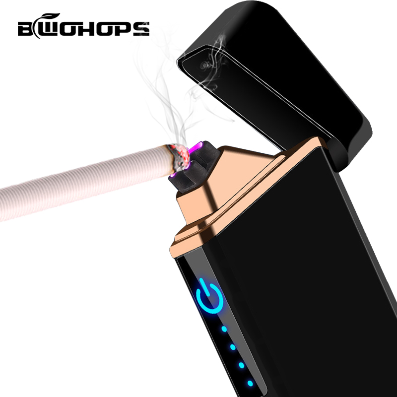 Electronic USB Pulsed Lighter Dual Arc Rechargeable Cigarette Smok Windproof Isqueiro Plasma Current Beam Ligther Customizable in Cigarette Accessories from Home Garden
